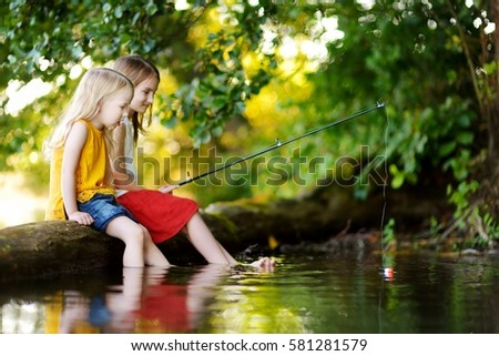 Calm fishing girl stock images royalty free images for Little girl fishing pole
