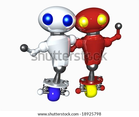 Two cute little robots of different color showing diversity. - stock photo