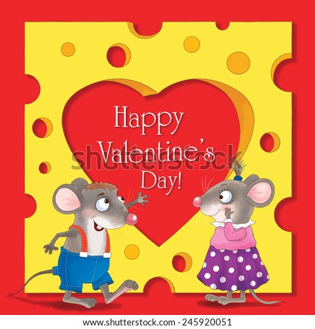 Two cute mice, and a huge piece of cheese with a heart-shaped hole. Valentine's day. Greeting card. Red background  - stock photo
