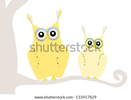 two cute owls - stock photo