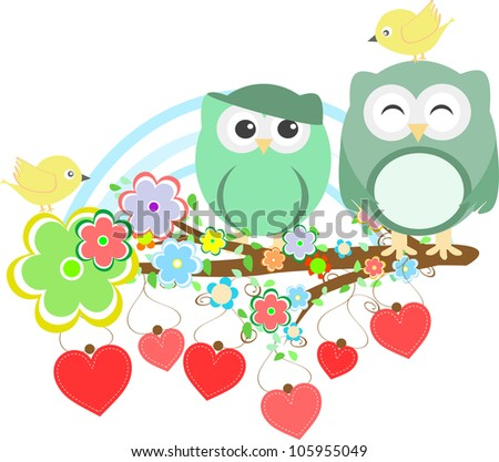 Two cute owls and bird on the flower tree branch. Raster