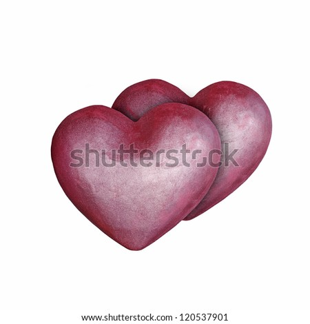 Two cute red hearts isolated against white. - stock photo
