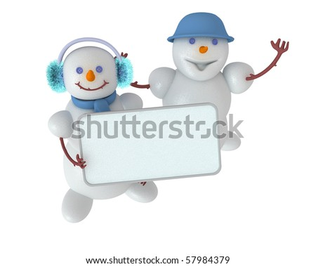 Two cute snowman that keep blank sign to put your word or logo - stock photo