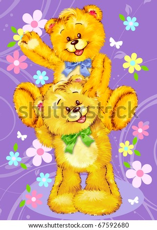 Two cute Teddy bears hugging by Freehand drawing. - stock photo