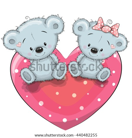 Two cute Teddy Bears is sitting on a heart