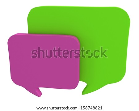 Two 3d blank speech bubbles isolated on white. Chat symbols, conference concept. Render