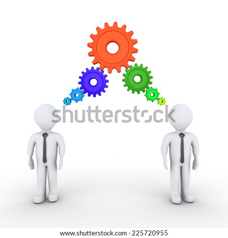 Two 3d businessmen and connected cogwheels over their heads - stock photo