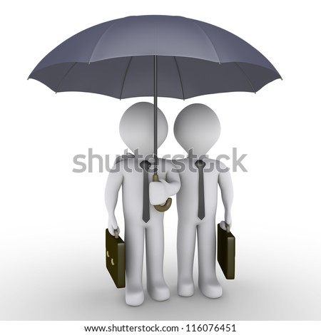 Two 3d businessmen holding suitcases are under an umbrella - stock photo