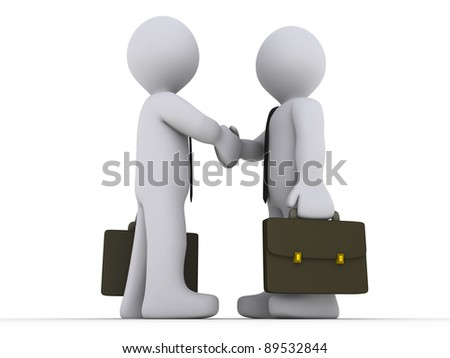 Two 3d businessmen shake hands
