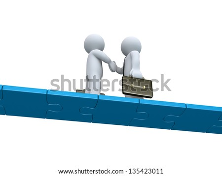 Two 3d businessmen shake hands on a bridge made of puzzle pieces - stock photo