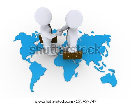 Two 3d businessmen shake hands on a world map - stock photo