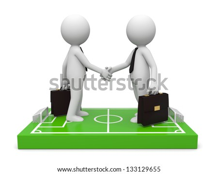 Two 3d businessmen shaking hands on a football field model - stock photo