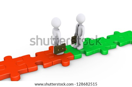 Two 3d businessmen standing on puzzle path facing each other - stock photo