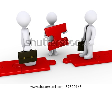Two 3d businessmen standing on red puzzle path and another is holding the missing piece - stock photo