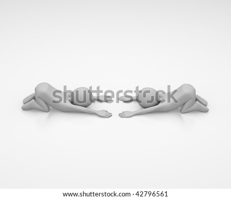 two 3D characters kneeling and bowing at one another as sign of mutual respect. - stock photo