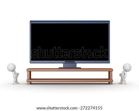 Two 3D characters looking up at a very large HD television. Isolated on white background.