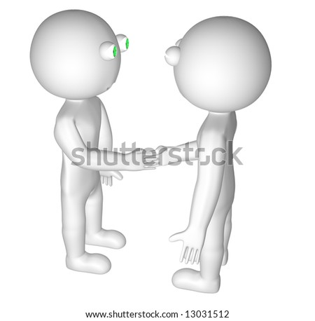 Two 3D characters Shaking Hands