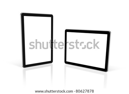 two 3D computers, digital Tablet pc,  tv screen, isolated on white with 2 clipping paths : one for screen and one for global scene - stock photo