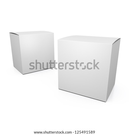 Two 3d empty paper boxes - stock photo