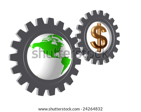 two 3d gear-wheels with golden dollar sign and Globe - stock photo