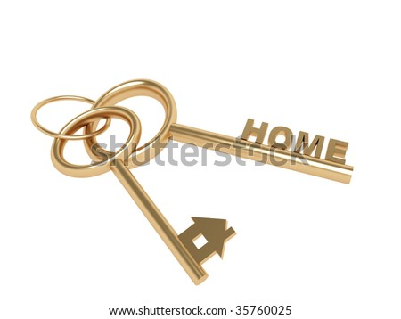 Two 3d gold keys with symbol home. Objects over white - stock photo