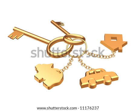 Two 3d gold keys with three labels. Objects over white - stock photo