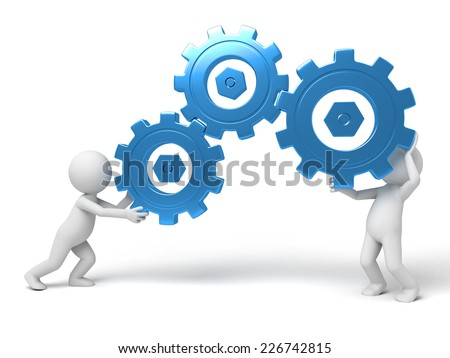 two 3d humans keep gears in hands. 3d image. Isolated white background