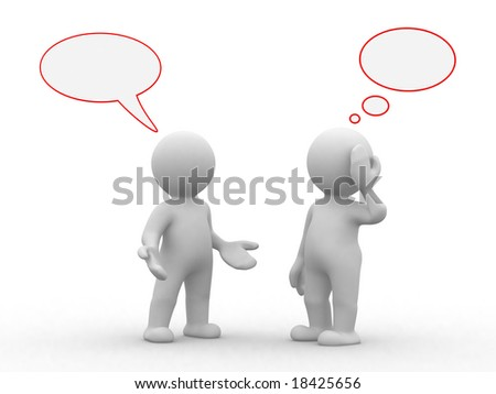 two 3d humans with empty chat and idea bubbles - stock photo