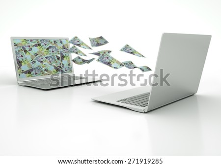 two 3D laptops transferring United Arab Emirates money banknotes