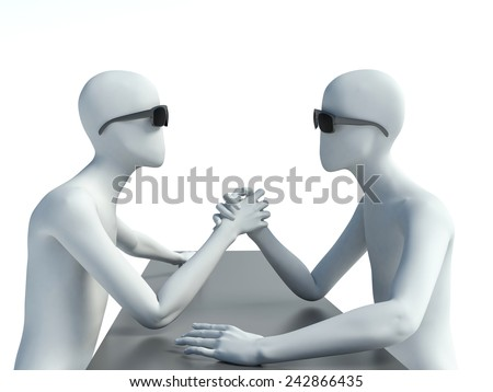 two 3d man doing arm wrestling - stock photo