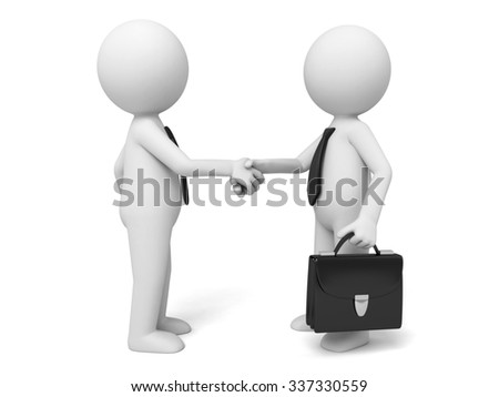 Two 3d men are shaking hands - stock photo
