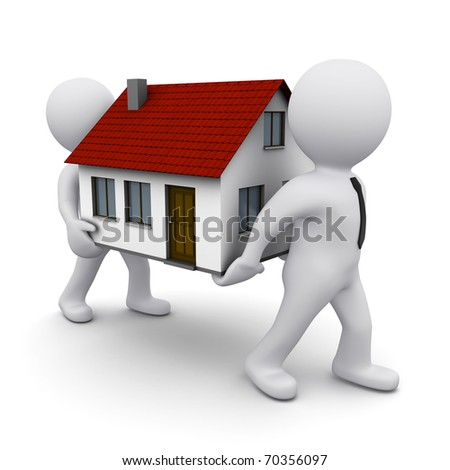 two 3D men carrying a model of house - stock photo