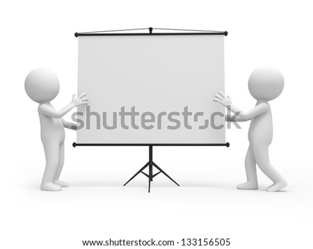 Two 3d men discussing, standing by a projector