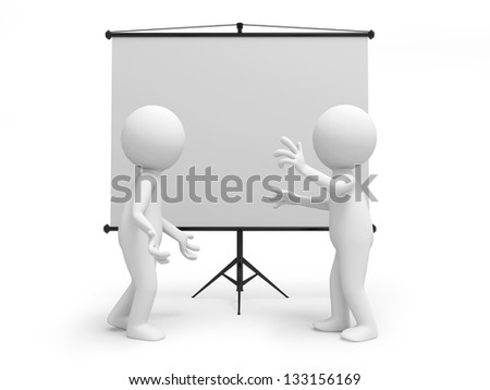 Two 3d men discussing , standing by the projector