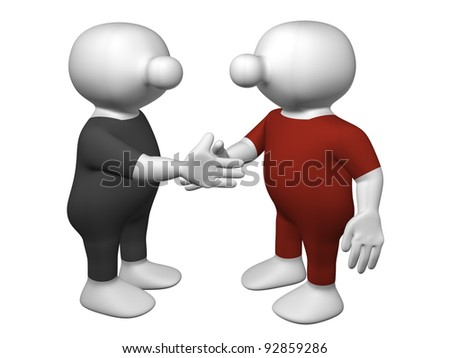 Two 3D men in black and red suit shaking hands