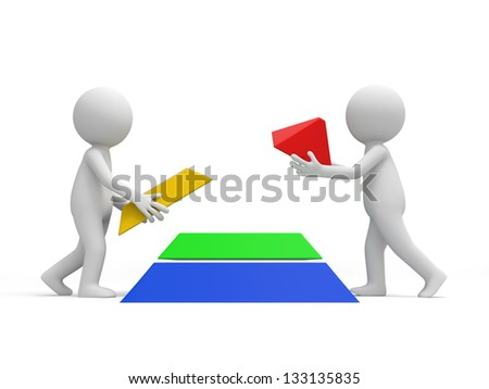 Two 3d men taking the former two pieces of a pyramid model - stock photo