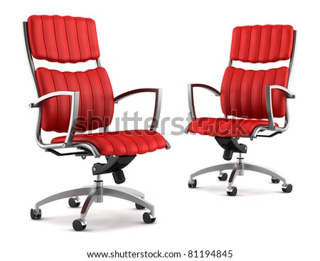 two 3d modern red office chairs isolated on white background - stock photo