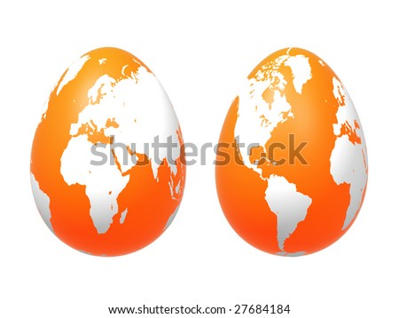 two 3d orange eggs with earth texture over white background, isolated