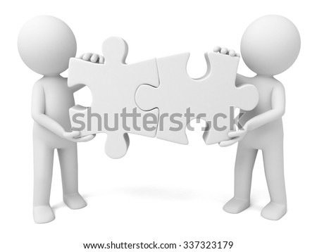 Two 3d people and two pieces of picture puzzle - stock photo
