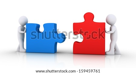 Two 3d people are pushing puzzle pieces in order to be connected - stock photo