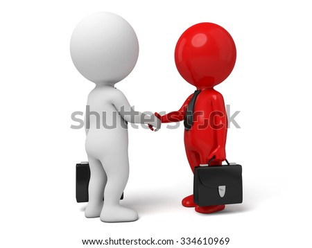 Two 3d people are shaking hands - stock photo