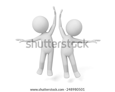 Two 3d people celebrate The victory. 3d image. Isolated white background. - stock photo