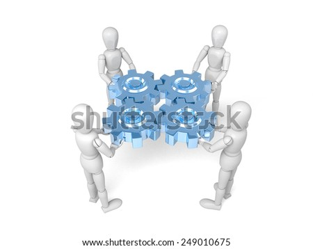 two 3d people keep gears in hands. 3d image. Isolated white background - stock photo