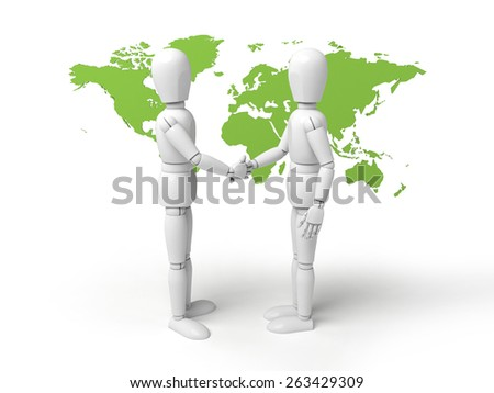 Two 3d people shaking hands. 3d image. Isolated white background