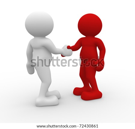 Two 3d people shaking hands - 3d render illustration - stock photo