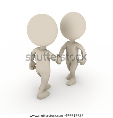 Two 3d people shaking hands. 3D rendering on white background