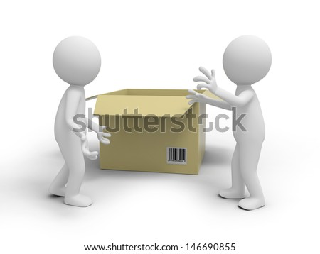 Two 3d people talking, a package box background - stock photo