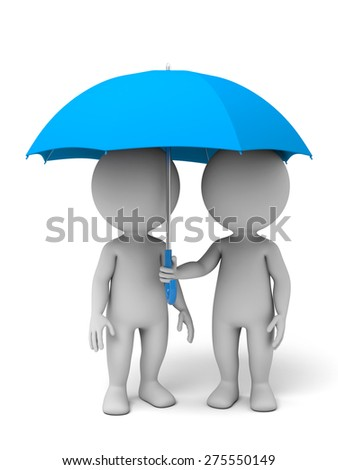 Two 3d people with an umbrella, 3d image. Isolated white background - stock photo