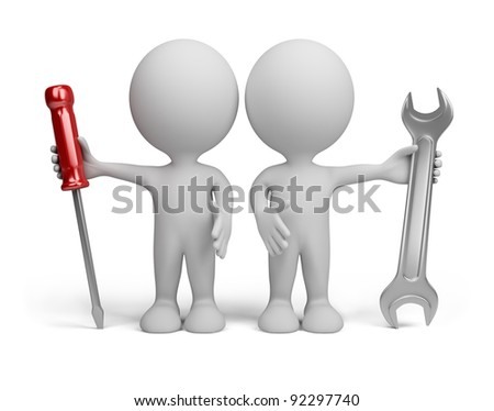 Two 3d person with the tools in the hands of. 3d image. Isolated white background. - stock photo