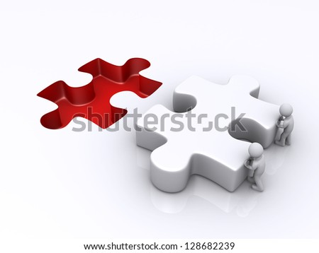 Two 3d persons are pushing the final puzzle piece for completion